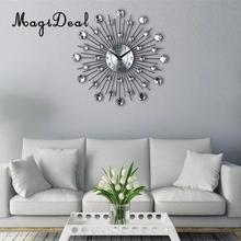 Modern Mute Analogue DIY Large Wall Clock 3D Sticker Luxury Diamond Metal Wall Art Watch Home Living Room Decor