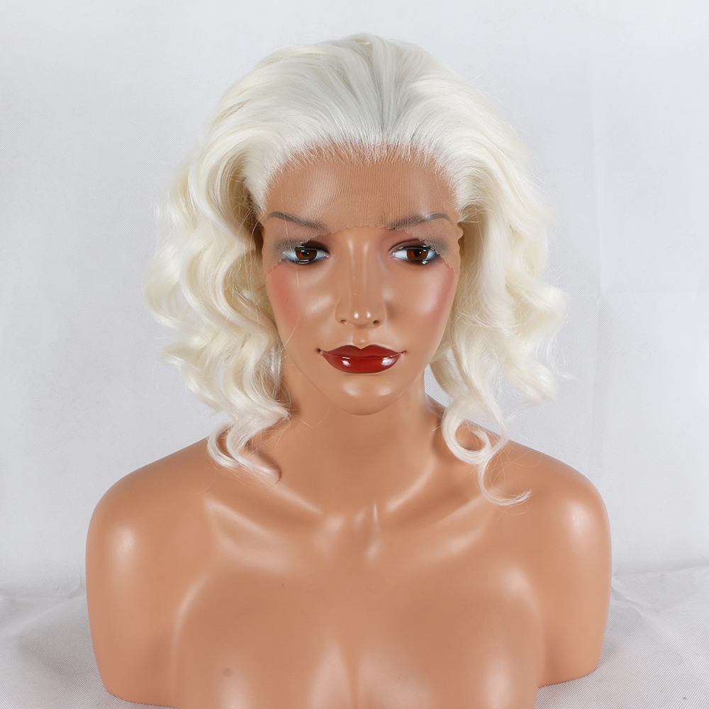 Fantasy Beauty Short Wavy Hair Synthetic Lace Wigs with Baby Hair White bob Wig Lob Hair