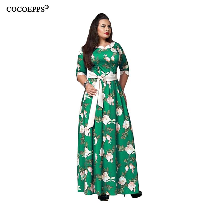COCOEPPS 2018 5XL 6XL Big Size Women Maxi Dress Fashionable Bohemian plus size Vocation Maxi Dress Vintage Boho Long Vestidos