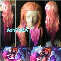 150cm LOL Zoe Aspect of Twilight orange pink purple Mixed colors Cosplay full wig New Hero Gradient Synthetic hair + Wig Cap