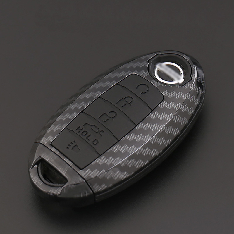ABS Carbon Fiber Shell Silicone Cover Remote Key Holder Fob Case amp KeyChain For Nissan Patrol 2018