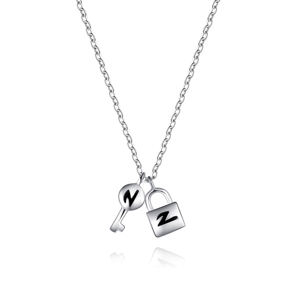 VOJEFEN Exquisite Women Men Lock & Key 925 Sterling Silver Necklace Chain Necklace Fine JewelryVOJEFEN Exquisite Women Men Lock & Key 925 Sterling Silver Necklace Chain Necklace Fine Jewelry