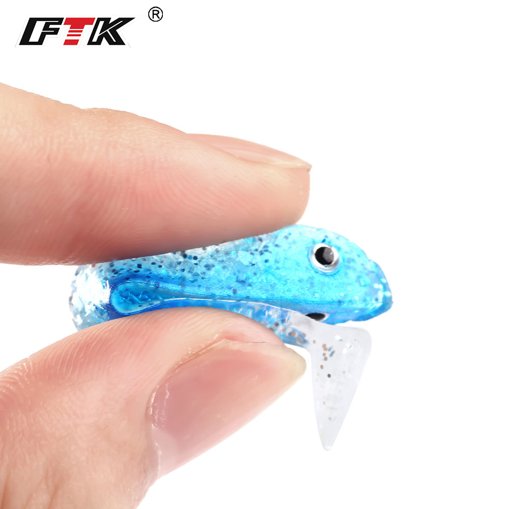 FTK 8pcs/lot Pesca Artificial Fishing Lure 5.5G/5.5CM Soft Lure Worm Swimbait Jig Bass Fishing Silicon Rubber Fish