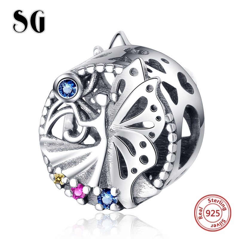 Genuine 925 sterling silver Dazzling CZ elegant Elf Beads Charms Fit Pandora Bracelet for Women DIY Jewelry Accessories in Beads from Jewelry Accessories