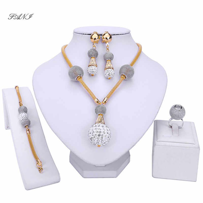 Fani Exquisite Dubai gold/sliver Jewelry Set Wholesale Nigerian Wedding woman accessories jewelry set Brand statement style