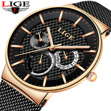 цена на LIGE Fashion Mens Watches Top Brand Luxury Quartz Watch Men Casual Slim Mesh Steel Date Waterproof Sport Watch erkek kol saati