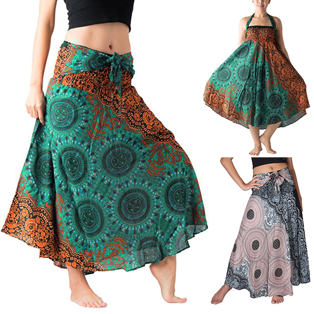Womail Women Skirt Summer Casual  Long Hippie Bohemian Gypsy Boho Flowers Elastic Floral Hlater Skirt Daily 2019 Dropship F9