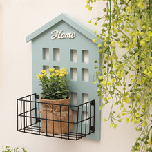 Nordic Style Iron Art Wall Shelf Domestic Bedroom Porch Is Decorated Can Put Potted Sundry Goods Rack Woodiness Decoration