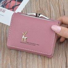 Мультяшный кожаный женский кошелек с карманом, женский клатч, кошелек, Женский Короткий держатель для карт, милый кошелек с оленем для девушек, Cartera Mujer W061