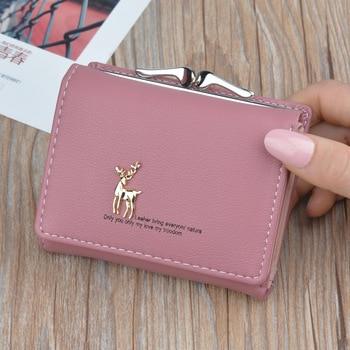 2020 Cartoon Leather Women Wallets Pocket Ladies Purse Clutch Wallet Women Short Card Holder Cute Girls Deer Wallet Portfel W061