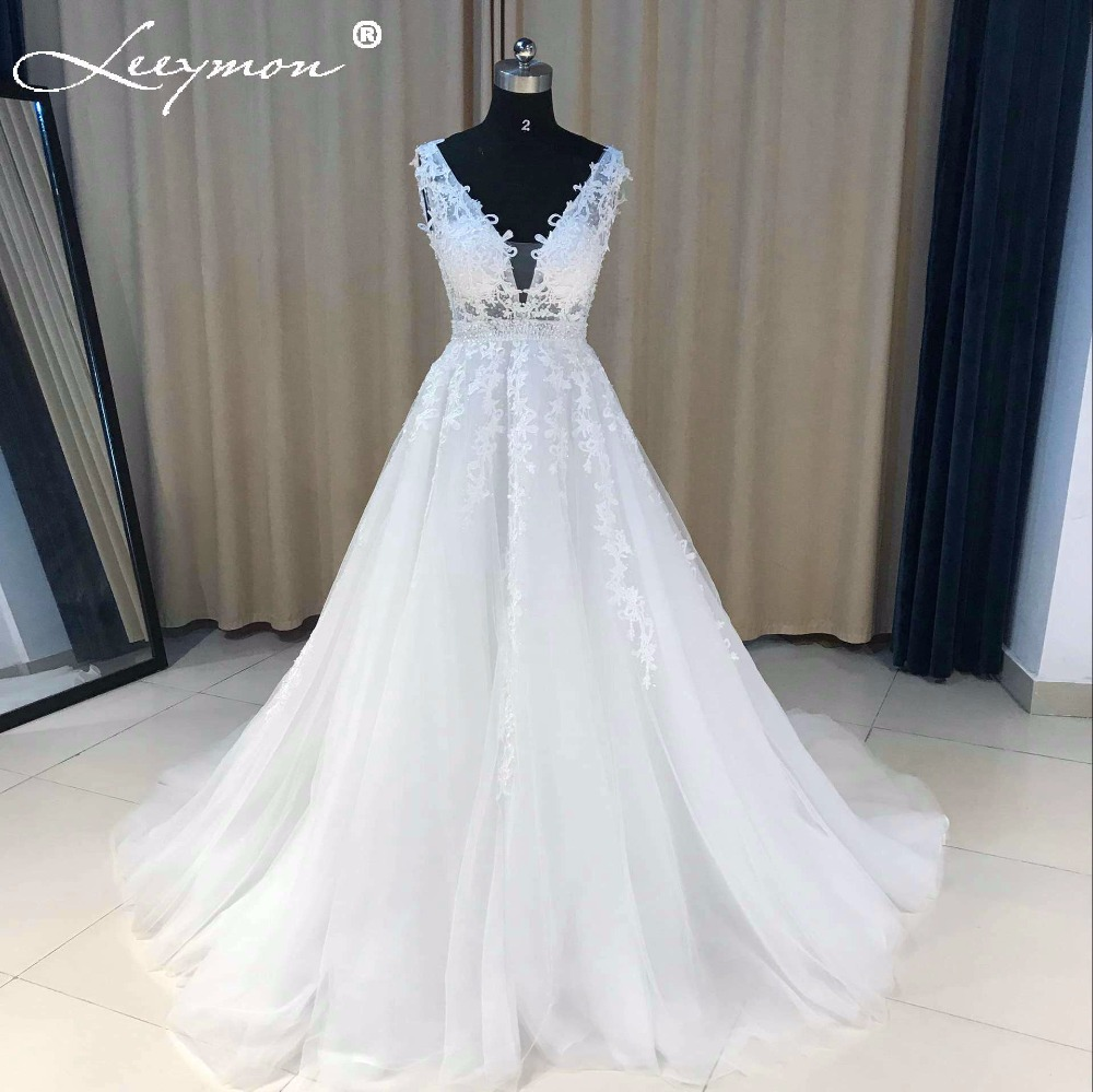 V Neck Tulle Lace Beaded Wedding Dress 2018 Low Back Sexy