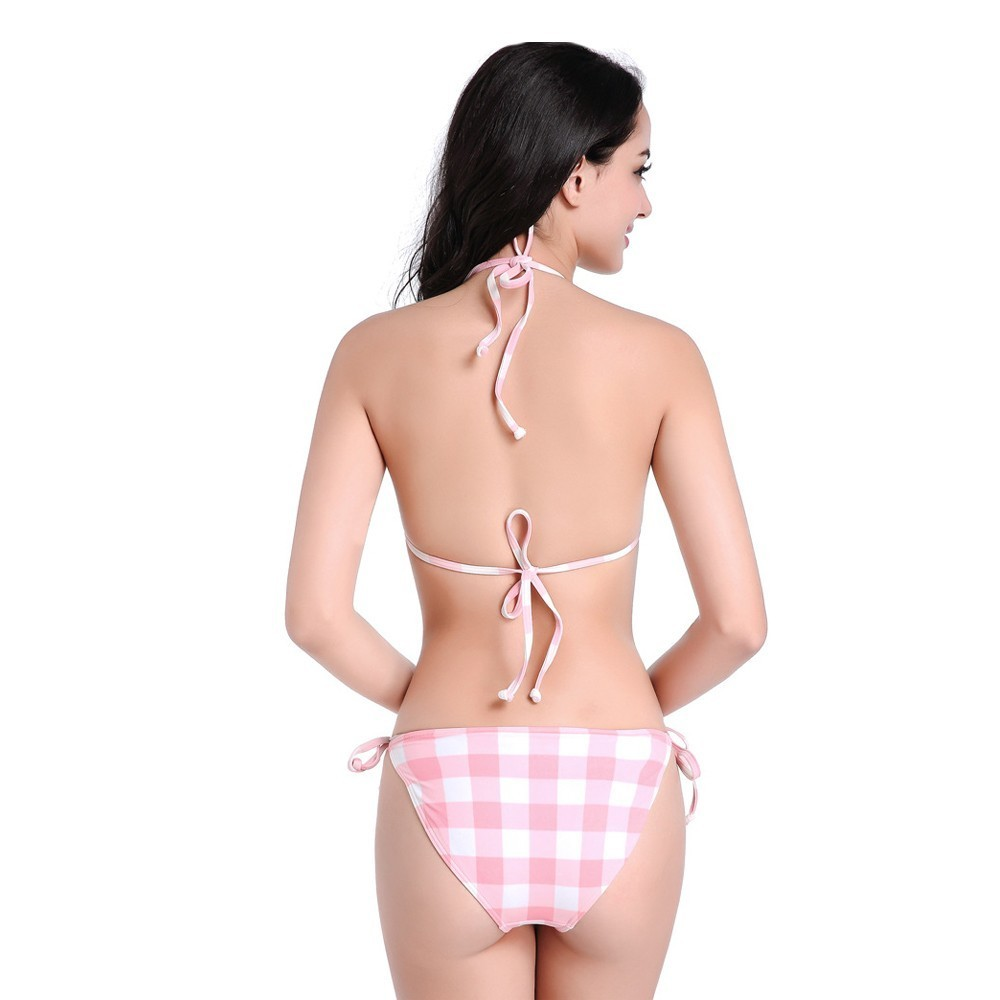 14e17c7eaf9 String Bikini Micro Bikini Female Swimsuit Pink Plaid Push Up Swimwear 2018  Summer Beach Swimwear Womens K50050-in Bikinis Set from Sports &  Entertainment ...