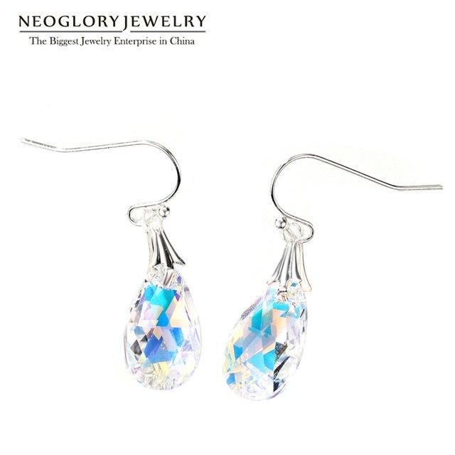 Neoglory Made With Swarovski Elements Crystal Earrings Nickel Free Teardrop Fishhook Drop Ear Wear Jewelry