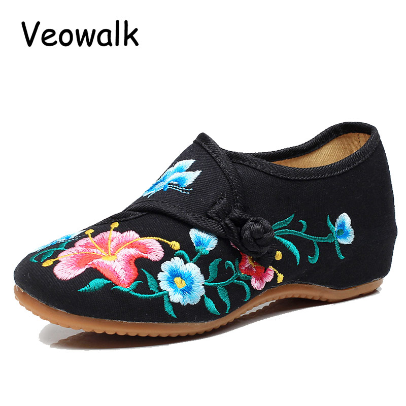Veowalk Big Size 34-41 Morning Glory Cloth Shoes Chinese Totem Flats Mary Janes Embroidery Casual Women Shoes  Zapato Mujer mary pope osborne magic tree house 26 good morning gorillas