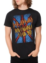Cool Shirt Designs Union Jack Def Leppard Pyromania 1983 Tour MenS Graphic O-Neck Short Sleeve T Shirts