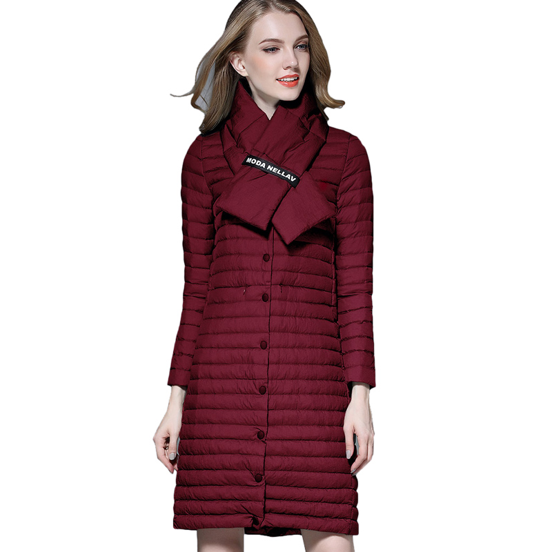 Autumn Coat Woman White Duck Down Long Jacket Female Ultra Light Padded Jackets Winter Long Coat With Scraf Parkas Solid