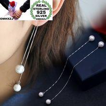 OMHXZJ Wholesale Personality Fashion OL Woman Girl Wedding Two Pearls White 30% Sterling Silver Earrings Ear Line YE276