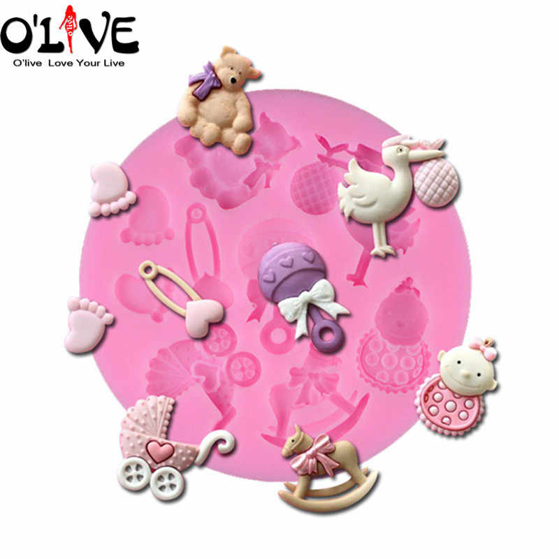 Silicone Mold Fondant Cake Decoration Tools Baby Bear Horse Chocolate Soap Forms Polymer Clay Molds Baking Kitchen Accessories
