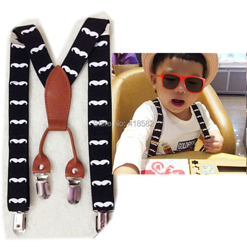 BD034--Hot sale kids beard suspenders 2.5*65cm 4 clips leather mustache braces for 2-8 years boys and girls