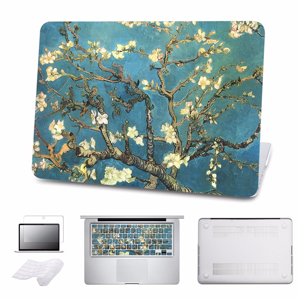 Floral Clear Print Hard Case For Macbook Pro 13 15 Touch bar Laptop bag Air Retina 12 13 15 with Keyboard Cover 5 in 1 Bundle