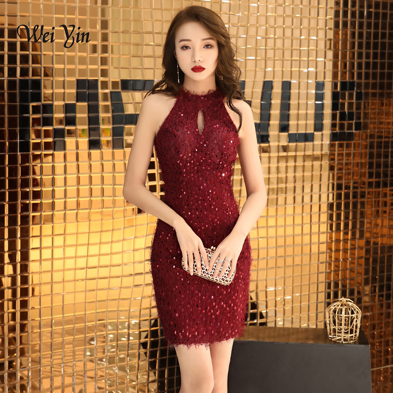 weiyin 2019 Sequins Short   Prom     Dresses   for Party Mini Length Halter Formal Gowns Special Occasion   Dress   Vestido de Festa WY1320