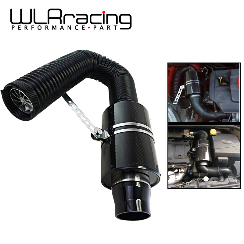 WLR - Air Intake With Fan Universal Racing Carbon Fiber Cold Feed Induction Kit Air Intake Kit Air Filter Box / OR WITHOUIT FAN(China)