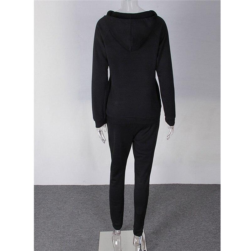 ea9402855 2018 Autumn Winter Cotton Knitted 2 Piece Women Sweat Suits Set ...