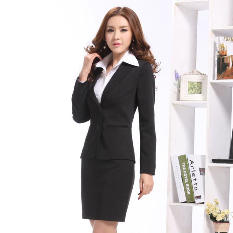 2018 new long-sleeved suits business suit sets of two buckle overalls Ms. OL suit suits