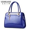 GESHILANXI цепи сумки женщины известных брендов женщины дизайнер сумочку моды свежие девушки стиль дамы Сплошной цвет Крокодил картина