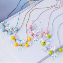 Korean Handmade Cute Cartoon Wreath Bow Knot Beads Princess Kids Children Girl Necklace Apparel Accessories-HZPRCGNL066F