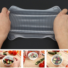 Hot!  4 Pcs Clear Square Reusable Silicone Food Saran Wrap Seal Cover Kitchen Tool