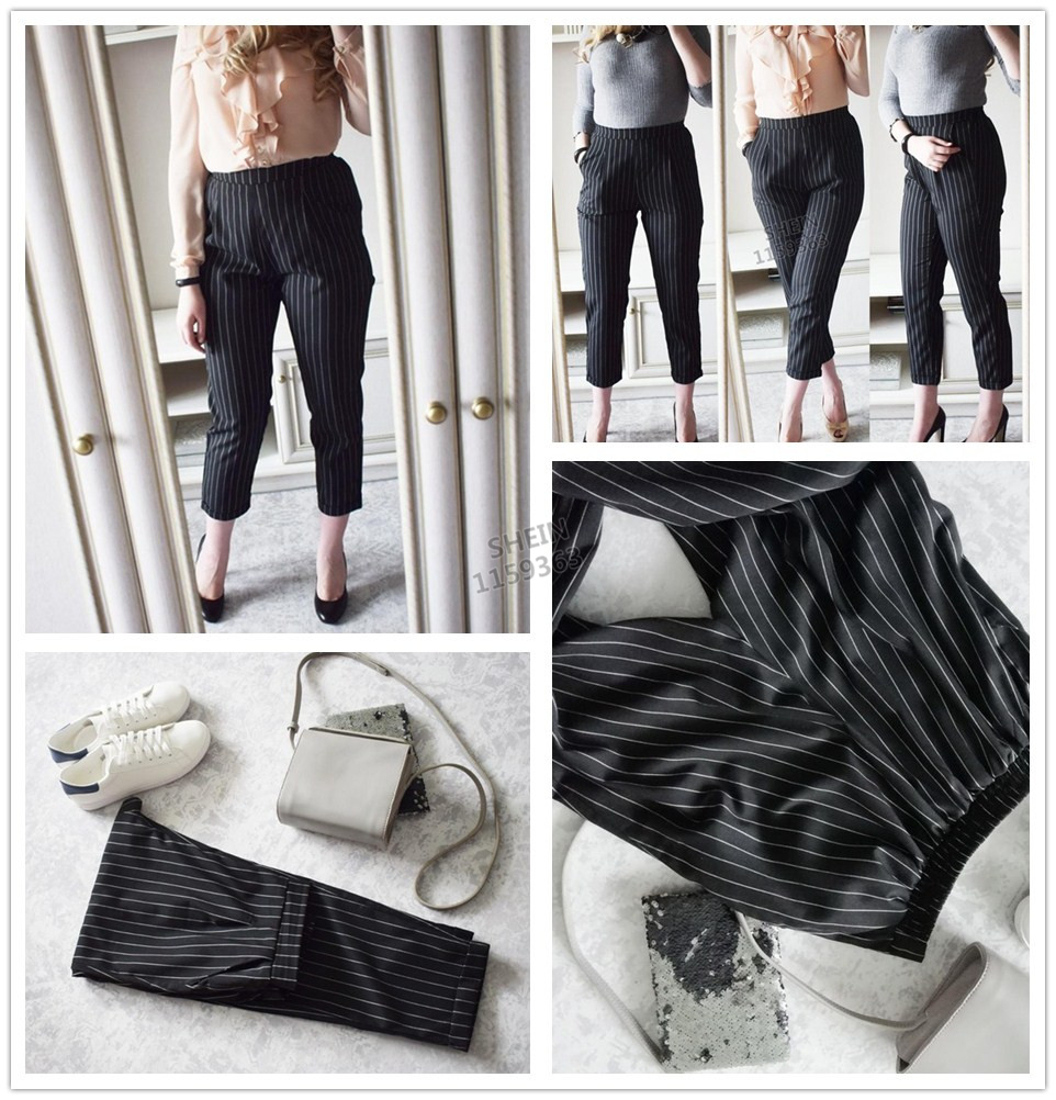 Cuffed Striped Office Pants