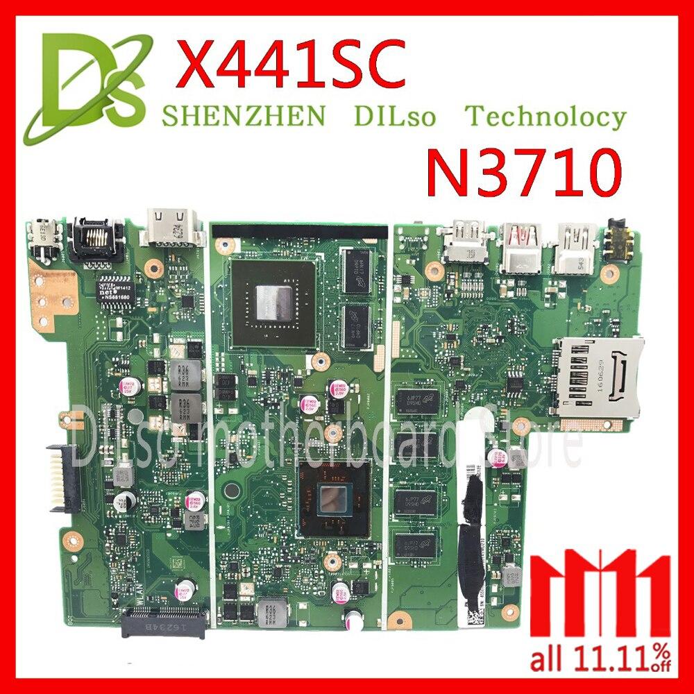 KEFU X441SC for ASUS X441SC X541 mainboard REV2.0 motherboard For ASUS X441SC N3710 motherboard Test g73sw for asus motherboard rev2 0 hm65 4ram slots 3d connector 90r n3imb1000y mainboard full test