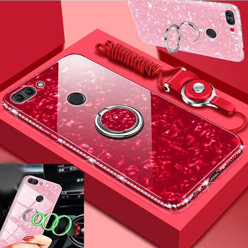 Tampa do Caso para Huawei P Inteligente Phone Case chapeamento de Volta Tampa de Vidro empered + tpu Funda com carro de metal dedo anel titular + corda