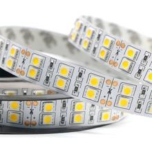 DC12v 120leds/m led strip 5050 5m/reel double row warm white/white led tape light Non waterproof lighting indoor decoration home(China)