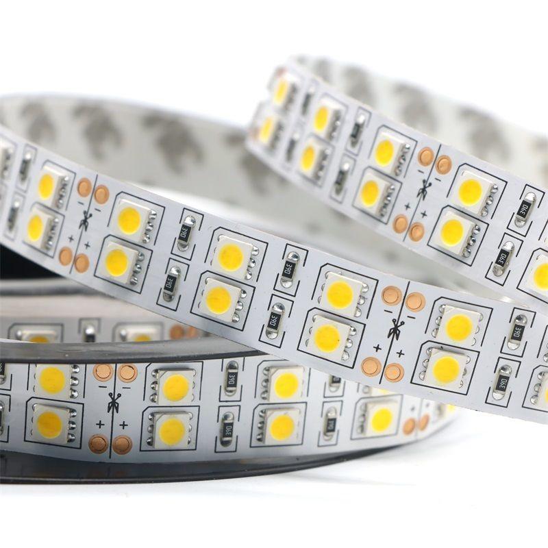 Dc12v 120 leds/m tira conduzida 5050 5 m/carretel dupla fileira quente branco/branco fita led luz não impermeável iluminação interior decoração casa