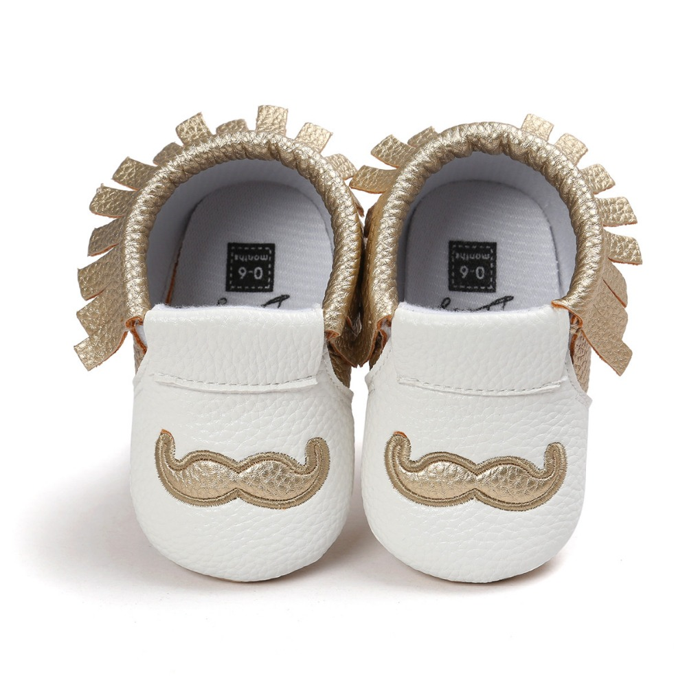 Hot moccs baby moccasins brand gold pu leather baby girls boys shoes Soft Bottom Non slip