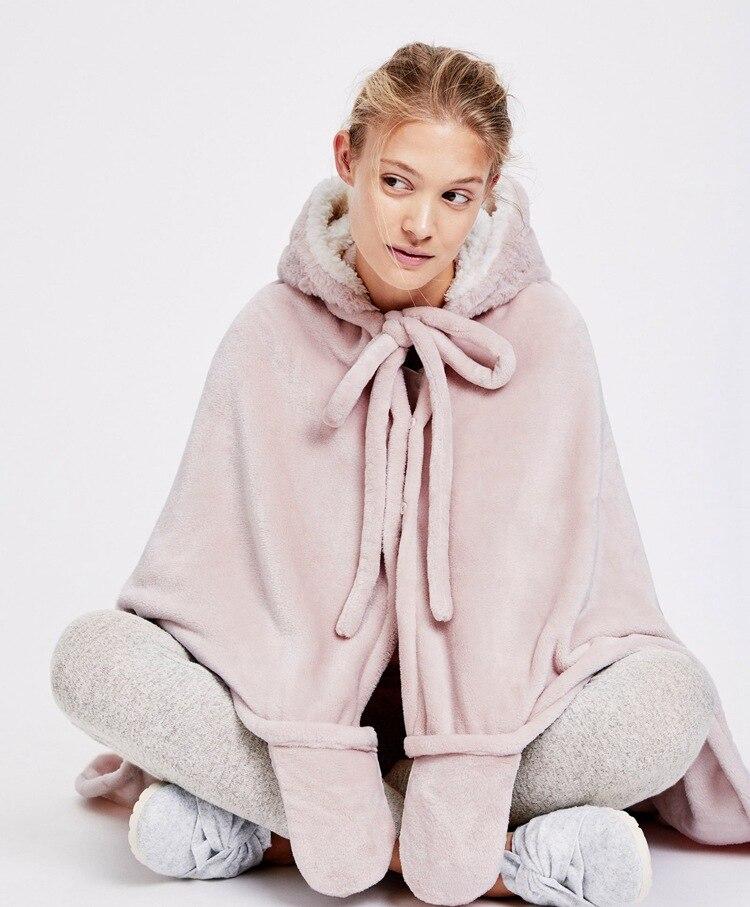 Cute Pink Comfy Blanket Sweatshirt Winter Warm Adults and Children Rabbit Ear Hooded Fleece Blanket Sleepwear Huge Bed Blankets 20