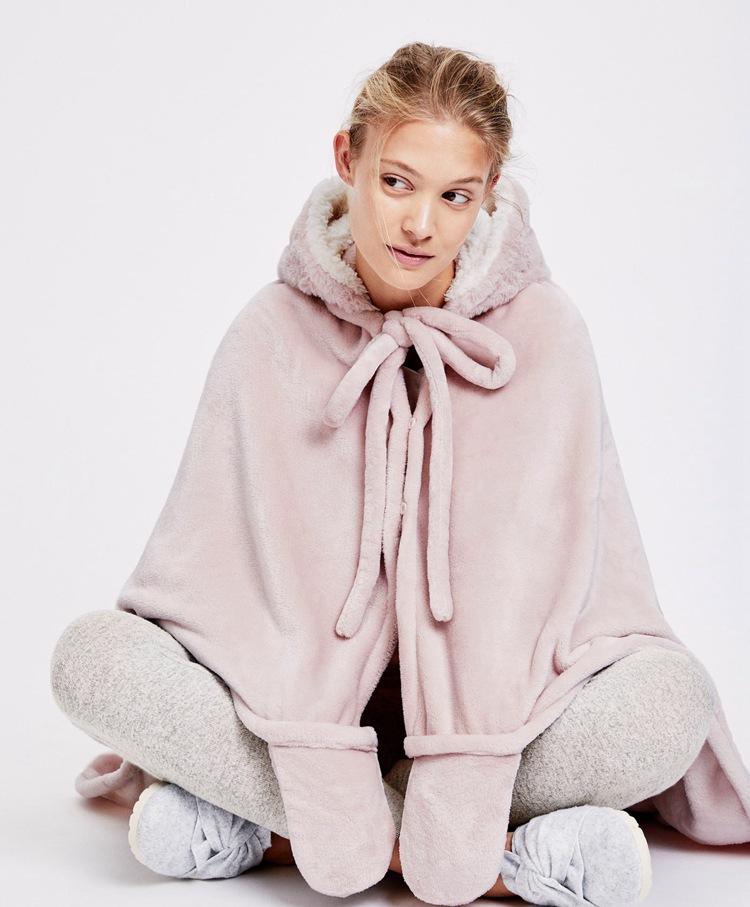 Cute Pink Comfy Blanket Sweatshirt Winter Warm Adults and Children Rabbit Ear Hooded Fleece Blanket Sleepwear Huge Bed Blankets 21