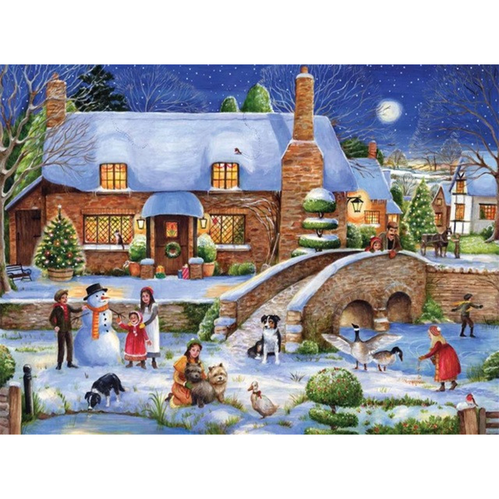 Christmas house painting - 5ddiy Diamond Painting Christmas House Puzzle Picture Embroidery Diamond Mosaic Home Stickers Children Painting Decor Room