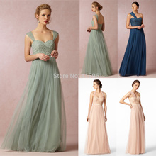 2015 Cheap Imported Mint Green Navy Blue Long Bridesmaid Dresses Removable Straps Halter Lace Dress For Weddings Tulle B2297 цена