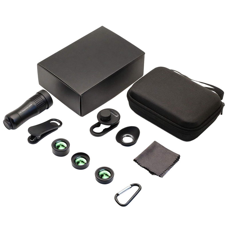 4 In 1 Phone Camera Lens,14X Zoom Telephoto Lens + 120° Super Wide Angle + Upgraded 20X Macro Lens + Fisheye Lens Compatible F