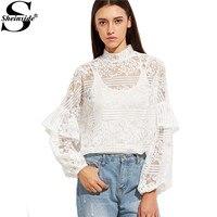 Sheinside White Long Sleeve Lace Blouse Long Sleeve Women Winter Tops White High Neck Ruffle Trim