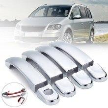 8 adet ABS krom kapı kolu Trim VW Touran için/Caddy/Multivan 2003 2004 2005 2006 2007 2008 2009 2010 2011 2012 2013
