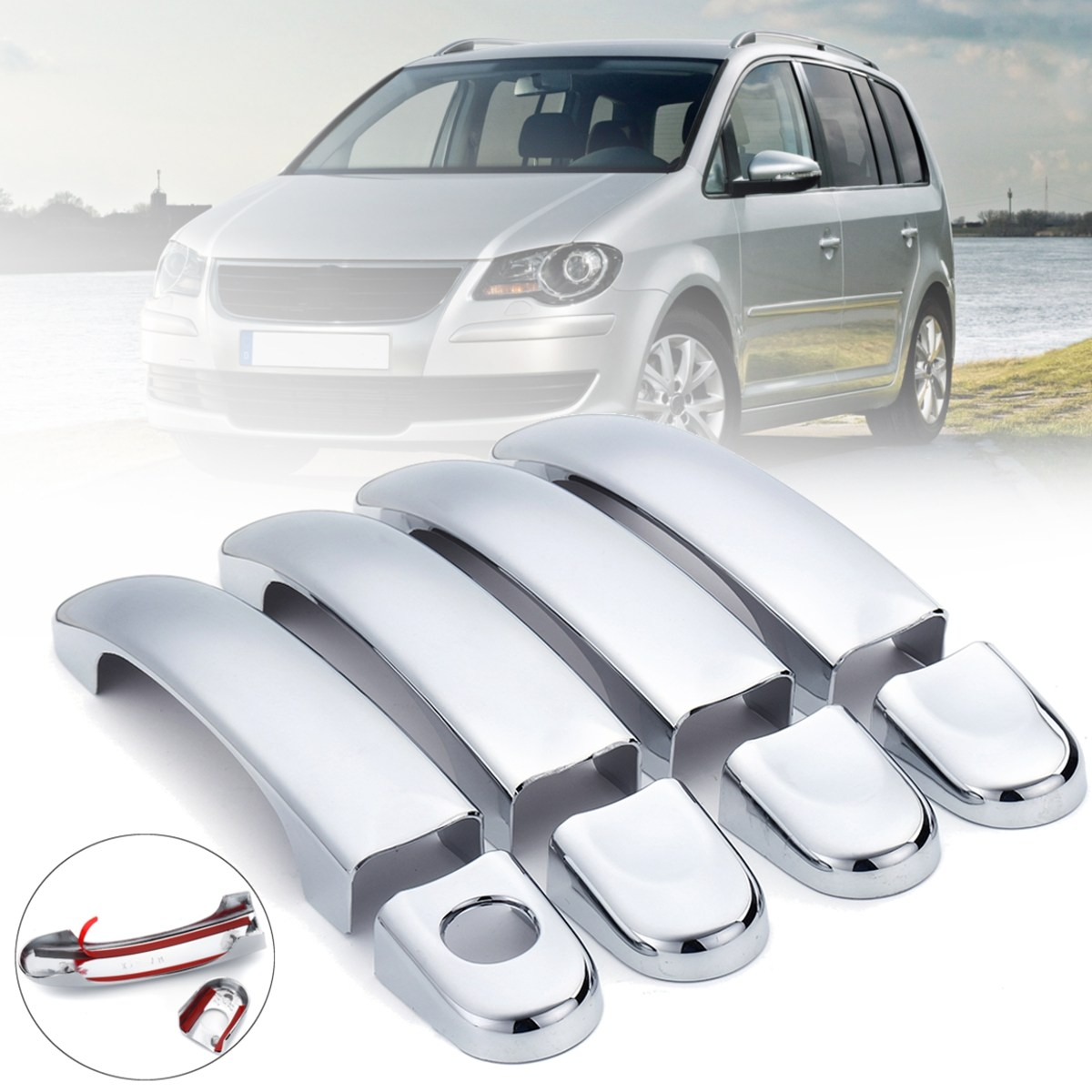 8pcs Chromed Stainless Steel Door Handle Cover Trim Set For VW Transporter T5 Ca