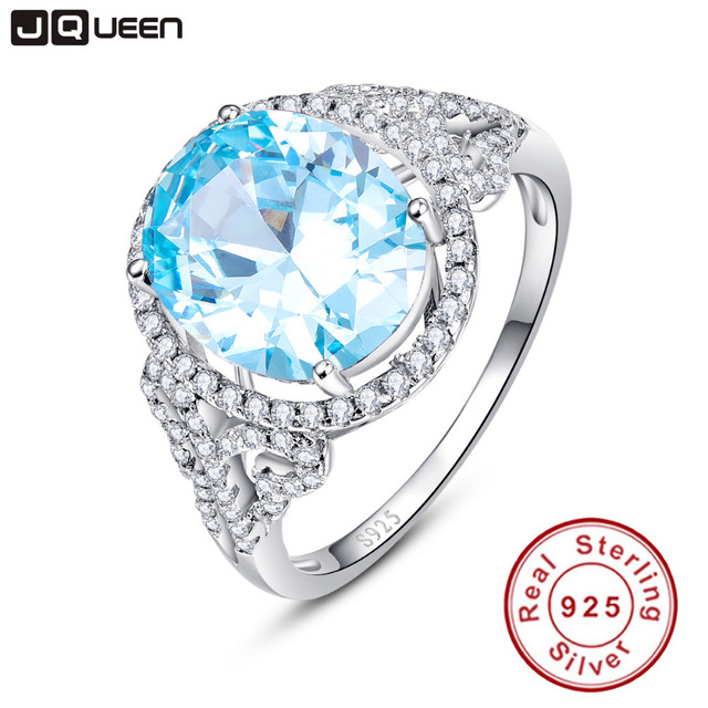 JQUEEN Oval Natural Sky Blue Topaz Ring Solid 925 Sterling Silver Rings For Wome