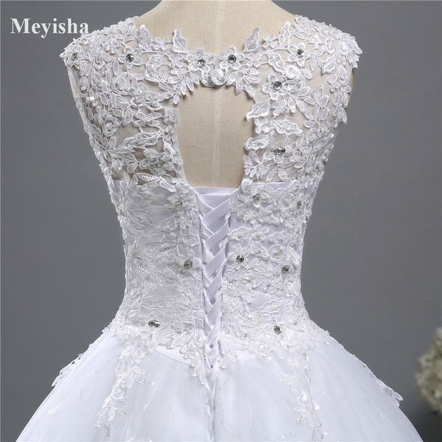 ZJ9139 Ball Gown Real Images Lace Tulle 2020 Wedding Dresses 2019 Dresses Bridal Dress Plus Size Shine Skirt Crystal Beads 5