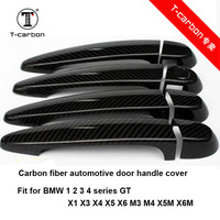 For BMW Carbon Fiber Auto Door Handle Knob Exterior Trim Covers for BMW E87 F20 F21 F22 F23 E90 E92 E93 F30 F35 Sticker