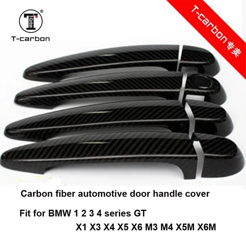 Pour BMW Fiber De Carbone Auto Porte Poignée Bouton Extérieur Garniture Couvre pour BMW E87 F20 F21 F22 F23 E90 E92 e93 F30 F35 Autocollant