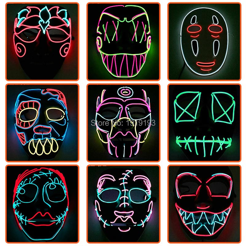 Light Up Skull Mask Props Luminous Flashing LED Costume Fancy Dress